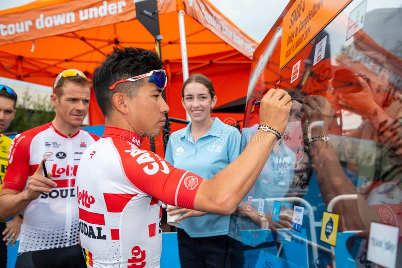 Tour Down Under 2019. ADELAIDE, AUSTRALIA - JANUARY 18 2019. Caleb Ewan of Australia and Lotto-Soudal signing on at the start of Stage 4 from Unley to royalty free stock photo