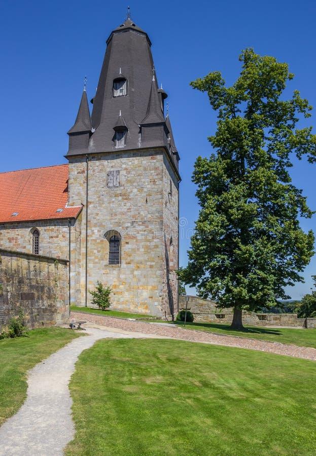Tour du château de sommet dans mauvais Bentheim images libres de droits