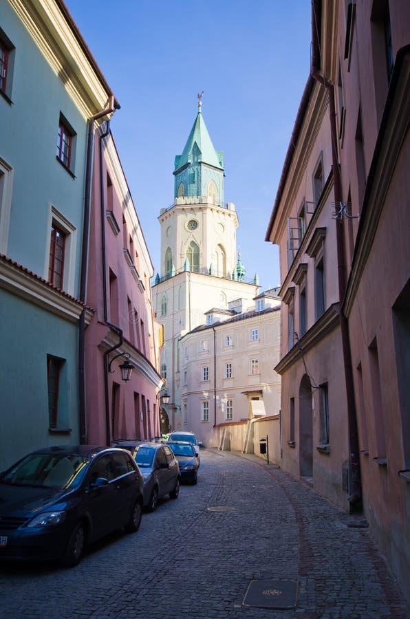 Tour du vieux bâtiment, Lublin, Pologne images stock