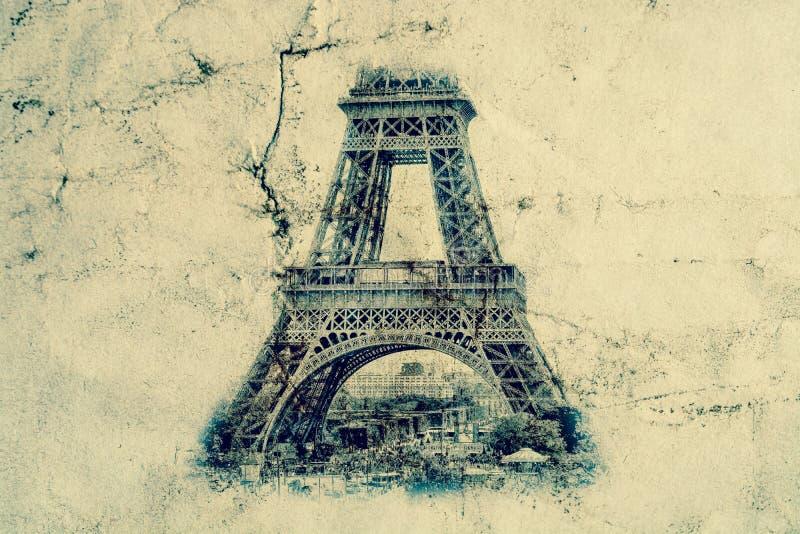 Tour Eiffel à Paris Fond de vue de vintage Voyagez la vieille rétro photo de style d'Eiffel avec le papier chiffonné par fissures illustration stock