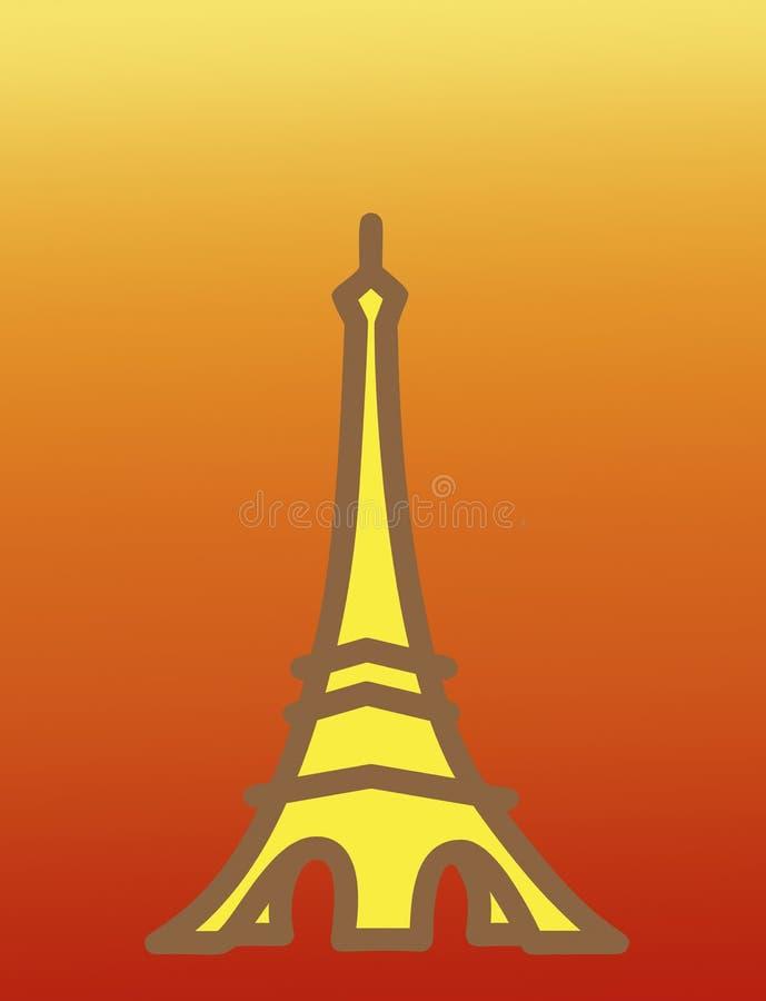 Tour Eiffel au-dessus de fond de coucher du soleil illustration libre de droits