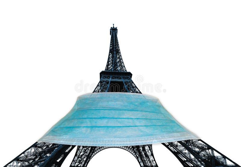 Tour Eiffel avec masque chirurgical images libres de droits