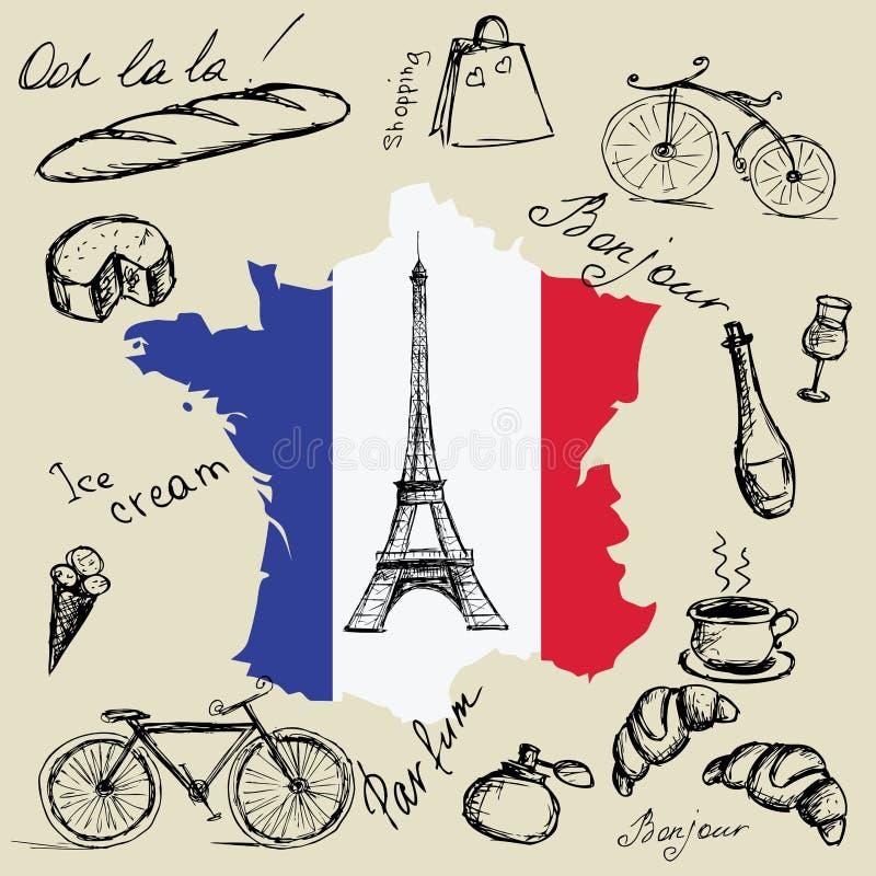 Tour Eiffel, carte et drapeau des Frances et des symboles principaux du illustration de vecteur