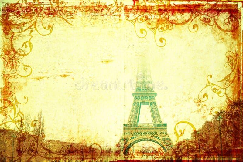 Tour Eiffel en hiver sur le fond grunge photo libre de droits