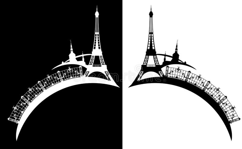 Tour Eiffel et conception de vecteur de silhouette de ville de Paris illustration libre de droits
