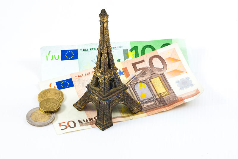Tour Eiffel and euros royalty free stock images