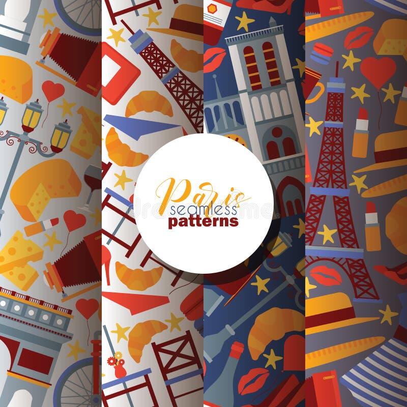 Tour Eiffel français de culture de modèle sans couture de vecteur de Paris et ville triomphale de tourisme de l'Europe d'illustra illustration libre de droits