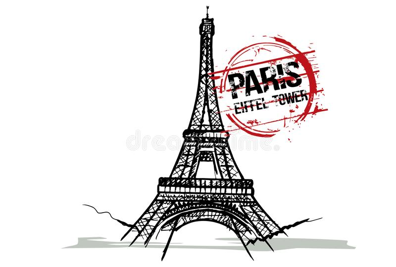 Tour Eiffel Paris, conception de ville de Frances illustration libre de droits