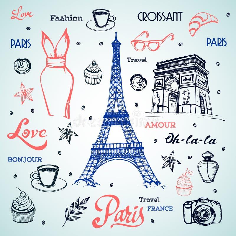 Tour Eiffel parisien et d'autres symboles de vecteur illustration libre de droits