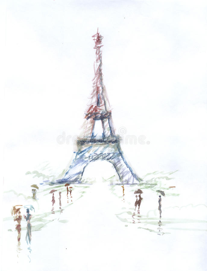 Bien-aimé Tour Eiffel Romantic Illustration Drawing Water Color Paints And  TK61
