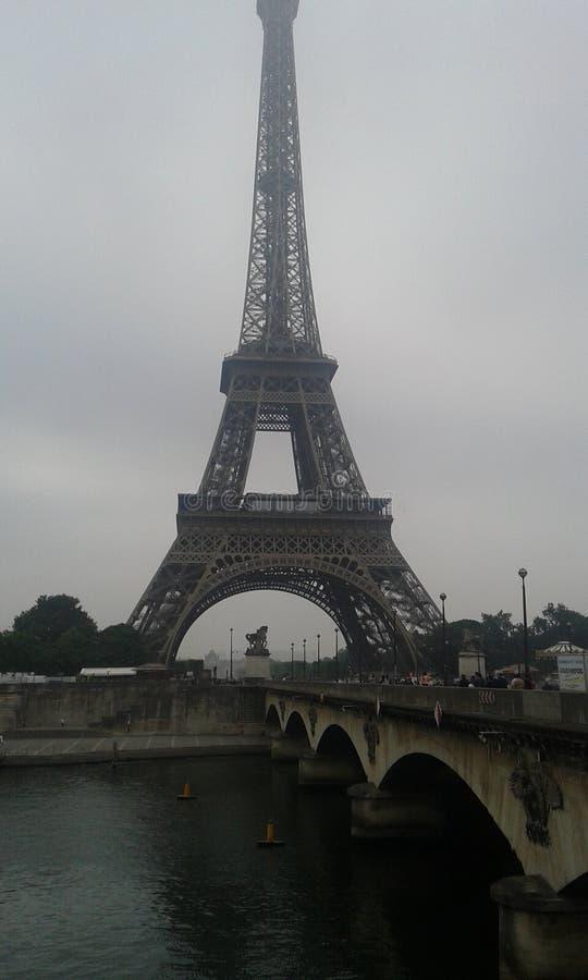 Tour Eiffel and Senna in Paris stock photos