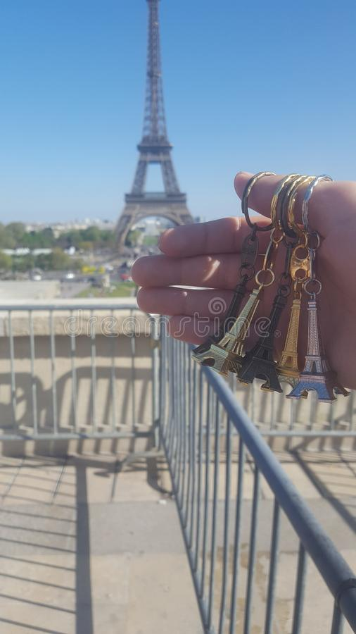tour Eiffel with small stats stock photo