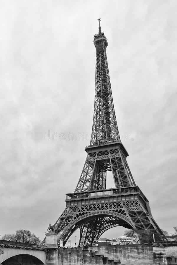 Tour eiffel vertical in black and white stock photo for Eiffel architect