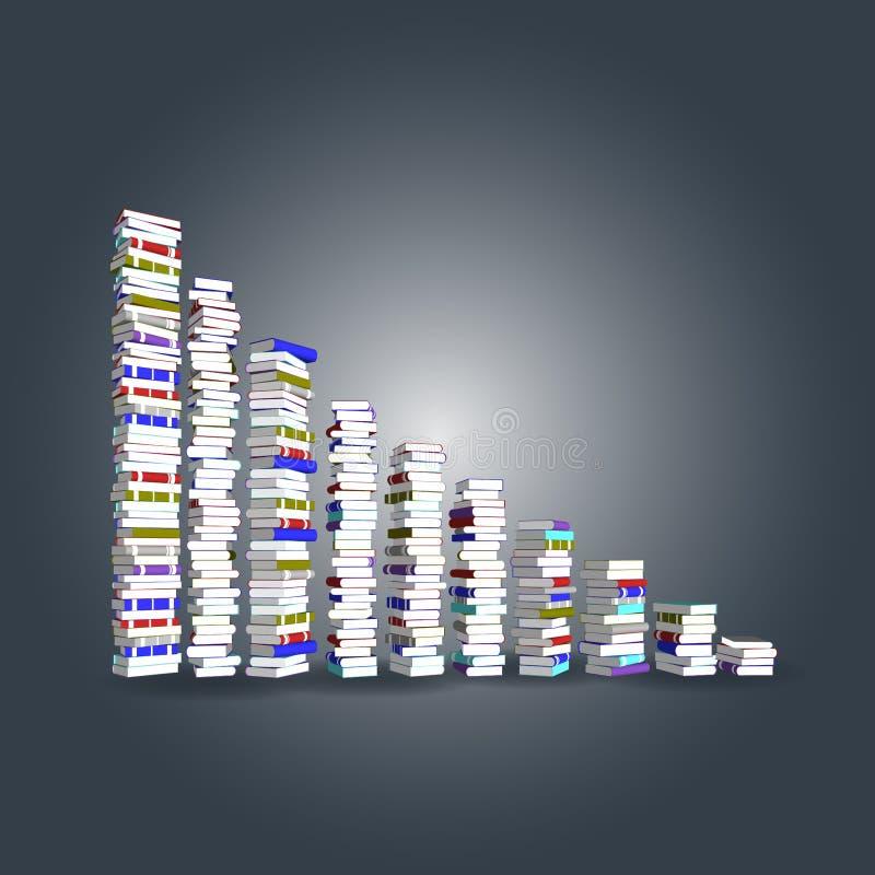 Tour et escalier colorés de livres illustration libre de droits