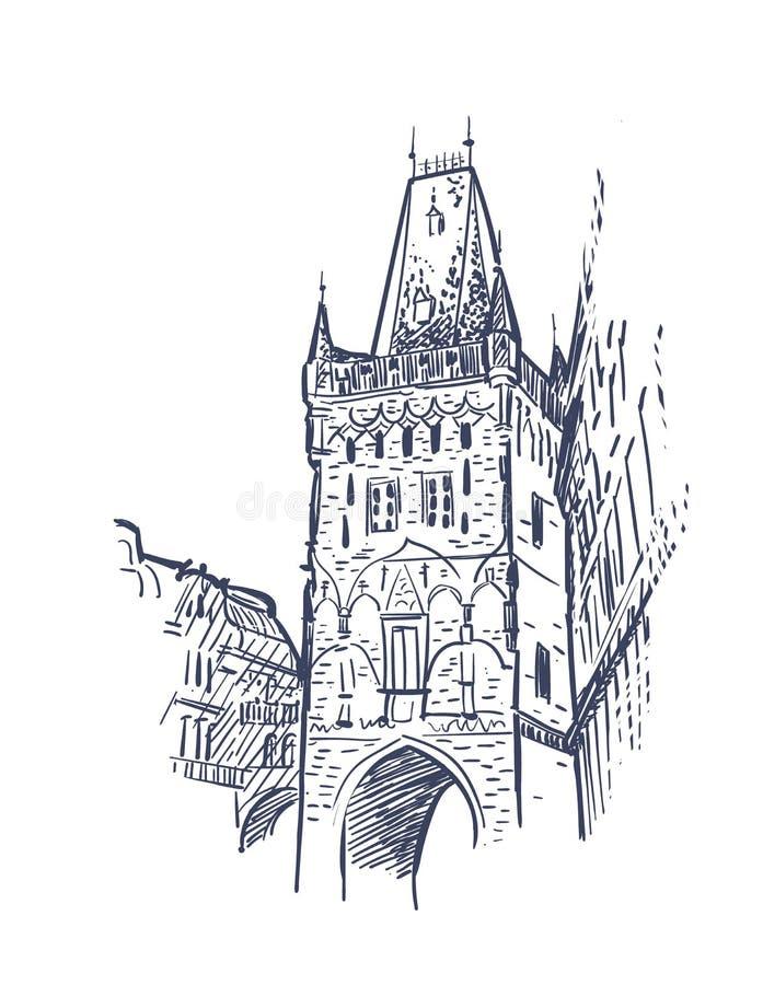 Tour europ?enne de Prague de vue d'illustration de croquis illustration stock