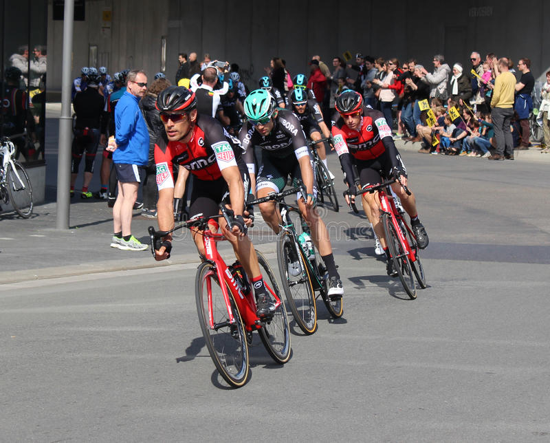 Tour of Flanders 2017. AALST, BELGIUM, APRIL 2 2017: Competitors racing in the Tour of Flanders through the streets of Aalst. It is the most important Flemish stock photo