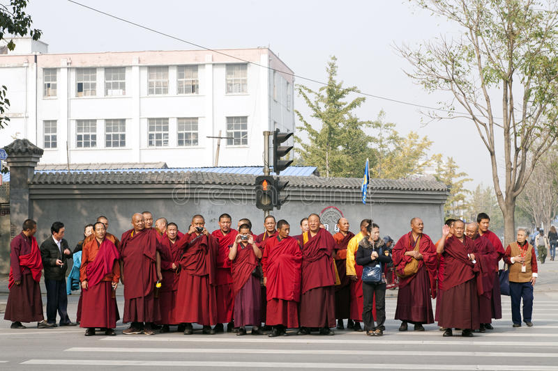 A Tour Group Of Monks In Beijing Editorial Photo