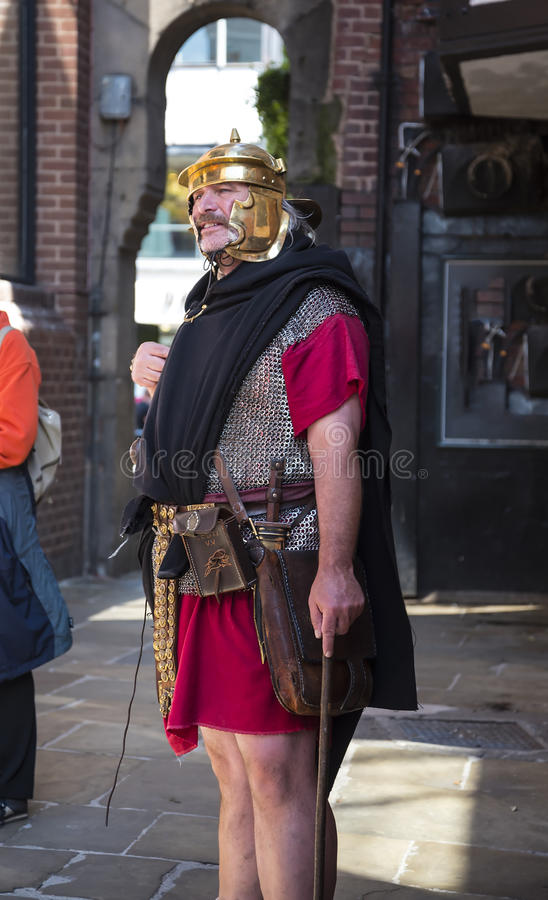 Tour Guide as Roman Soldier in Chester the county city of Cheshire in England stock photos