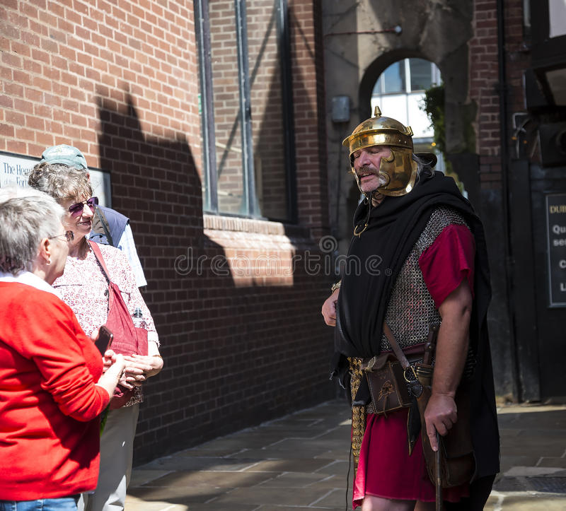 Tour Guide as Roman Soldier in Chester the county city of Cheshire in England stock images