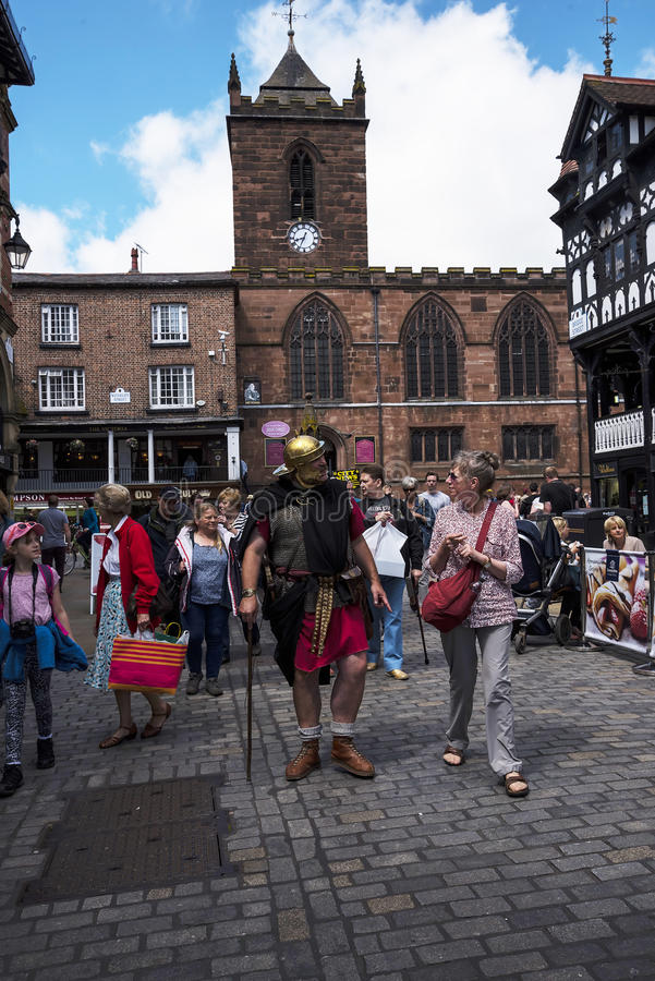 Tour Guide as Roman Soldier in Chester the county city of Cheshire in England stock image