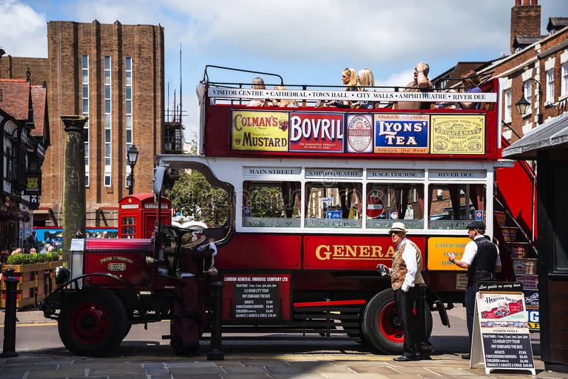 Tour Guide Omnibus in Chester the county city of Cheshire in England stock image