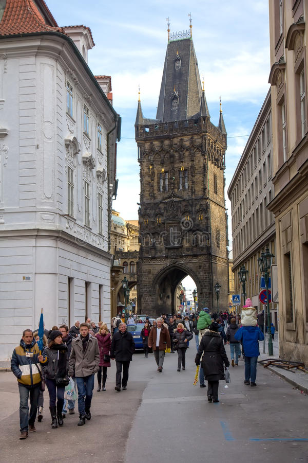 Tour guide at Prague royalty free stock photography