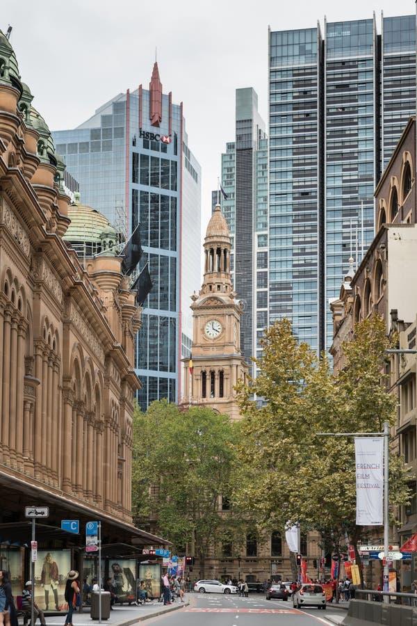 Tour historique d'hôtel de ville vue de la rue de York, Sydney Australia images stock