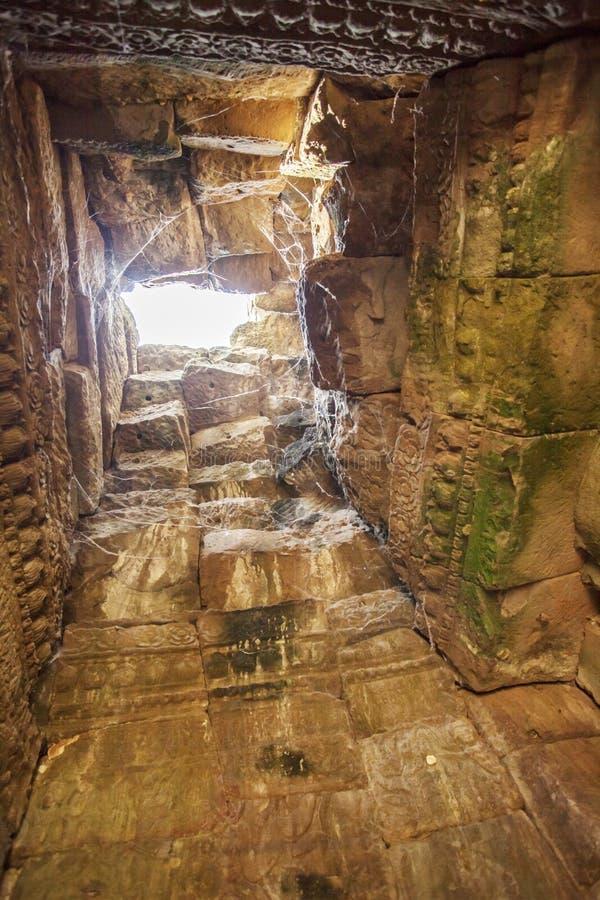 Tour intérieure de Prasat Bayon pendant le matin, Angkor Thom, Siem Reap, Cambodge image stock