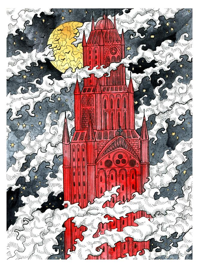Tour médiévale de château en nuages contre pleine lune la nuit illustration stock