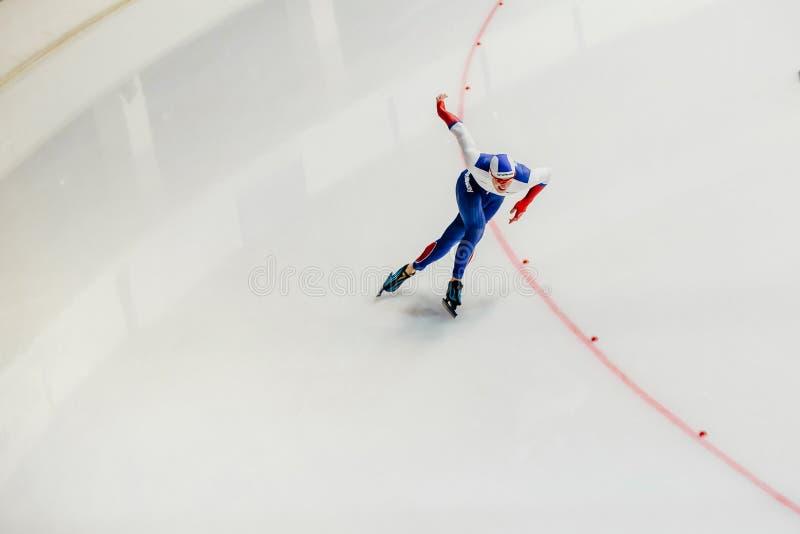tour masculin de patin de patineur de vitesse d'athlète de course de sprint photo libre de droits