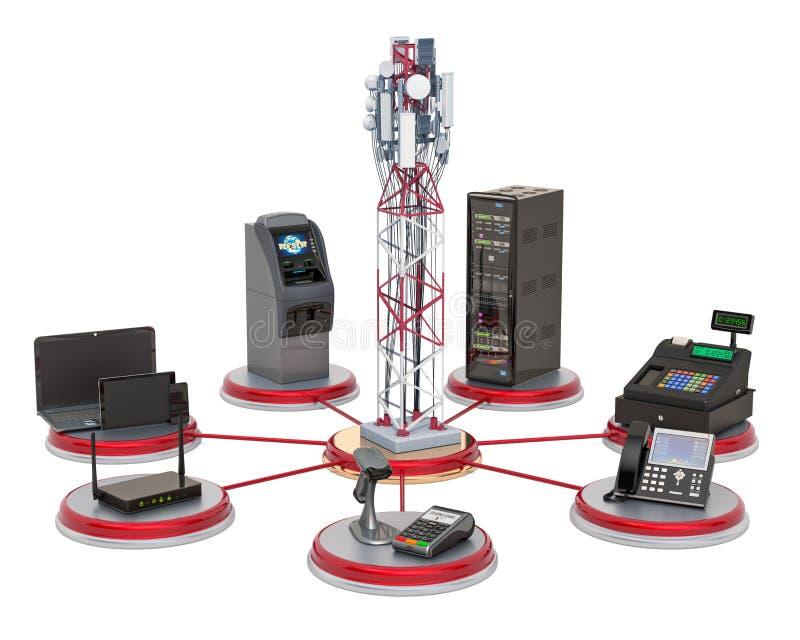 Tour mobile avec le commerce, les opérations bancaires et le concept de l'équipement de bureaux rendu 3d illustration libre de droits