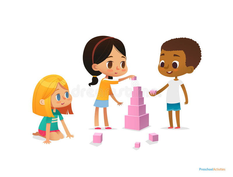 Tour multiraciale de construction d'enfants avec les blocs roses Jeu d'enfants utilisant le kit illustration de vecteur