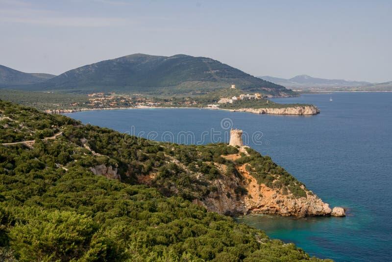 Tour près de la mer Capo Caccia Île de la Sardaigne photo stock