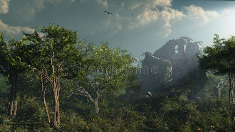 Tour ruinée dans la forêt illustration libre de droits