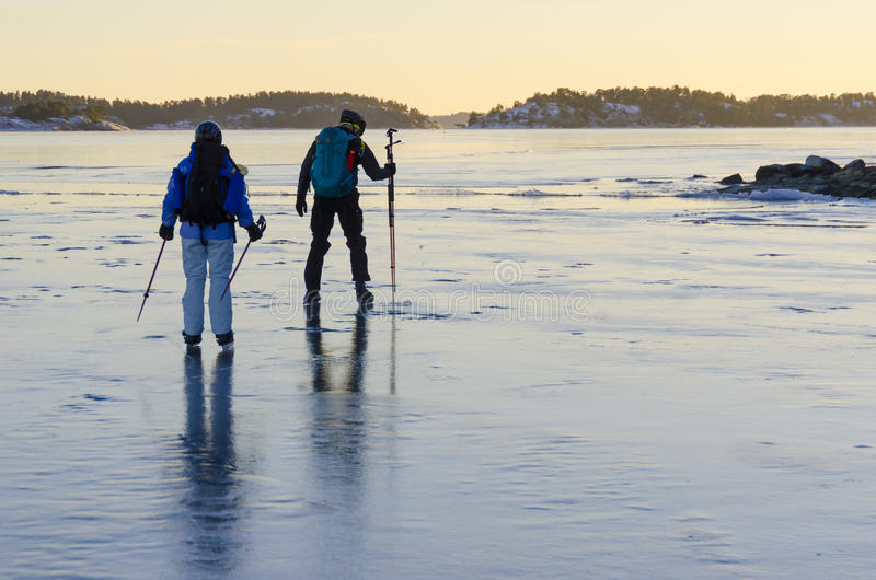Download Tour Skaters Testing The Ice Thickness Stock Image - Image: 29603719