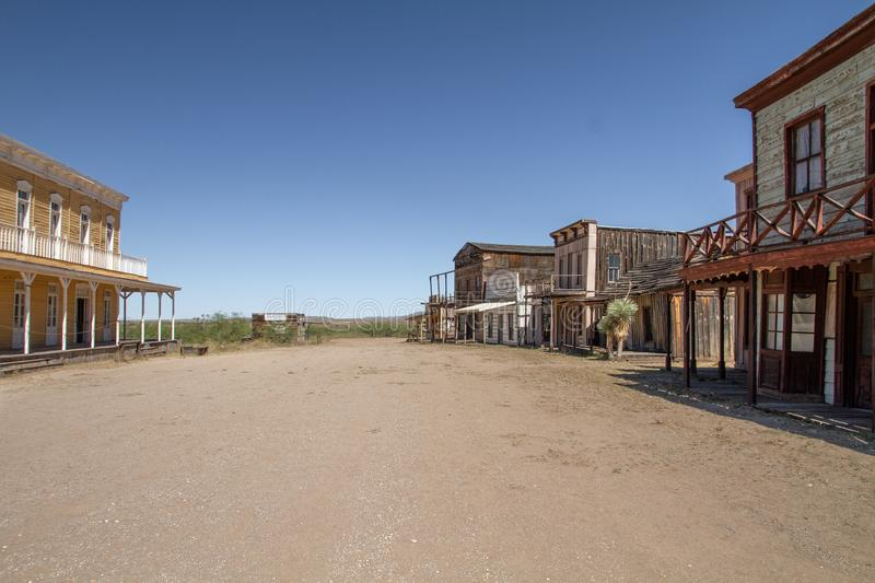 Old Wild West Town Movie Set in Mescal, Arizona. A tour of the weathered wild west movie set in Mescal, Arizona. The Mescal movie set has been the home of many royalty free stock photo