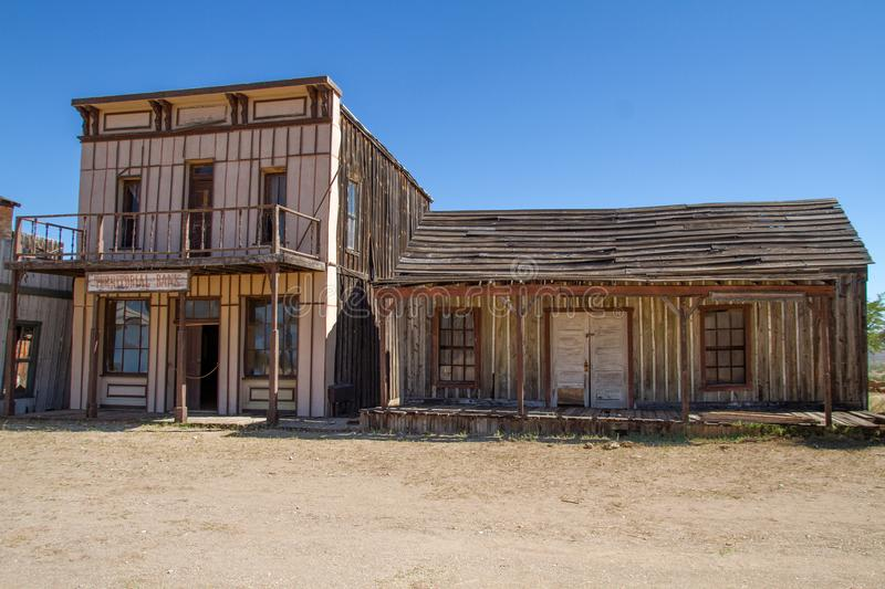 Old Wild West Town Movie Set in Mescal, Arizona. A tour of the weathered wild west movie set in Mescal, Arizona. The Mescal movie set has been the home of many stock photo