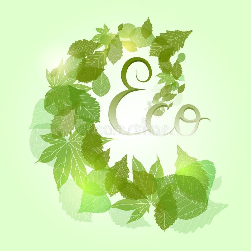 Tourbillon avec les feuilles vertes illustration de vecteur
