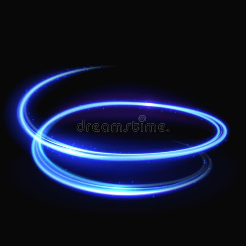 Tourbillon bleu de lumière de vecteur, tourbillonnement lumineux, fond en spirale rougeoyant illustration de vecteur