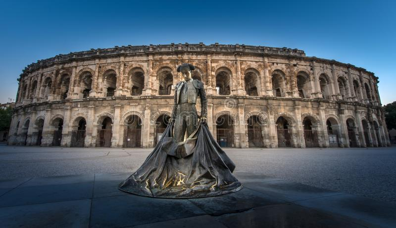 Toureiro na arena de Nimes imagem de stock royalty free