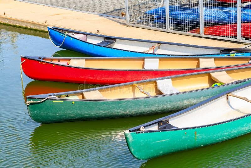 Touring canoes moored at Shadwell Basin royalty free stock image