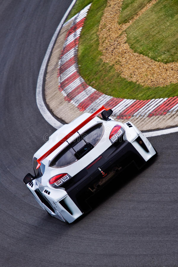 Touring car on track stock photo