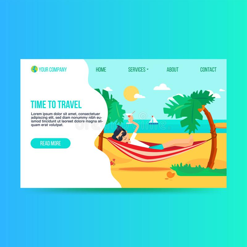 Tourism agency flat landing page template. Holiday trip to paradise island. Exotic resort homepage stock illustration