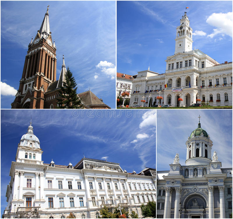 Tourism in Arad, Romania. Central city. Collage with four photos with buildings from Arad royalty free stock photos