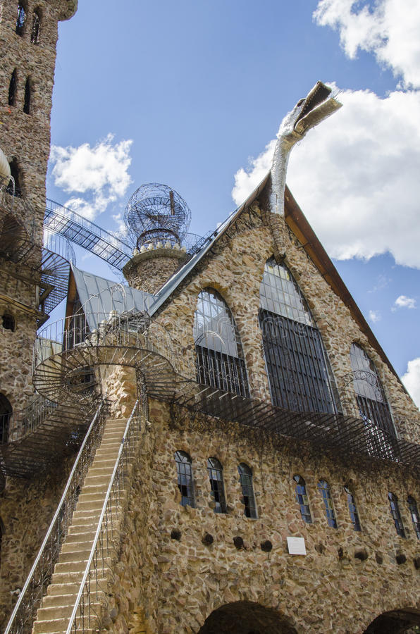 Tourism at Bishops Castle in Colorado. For nearly 60 years, this has been being built. Bishop castle is a monumental statue in stone and iron that cries loud stock image