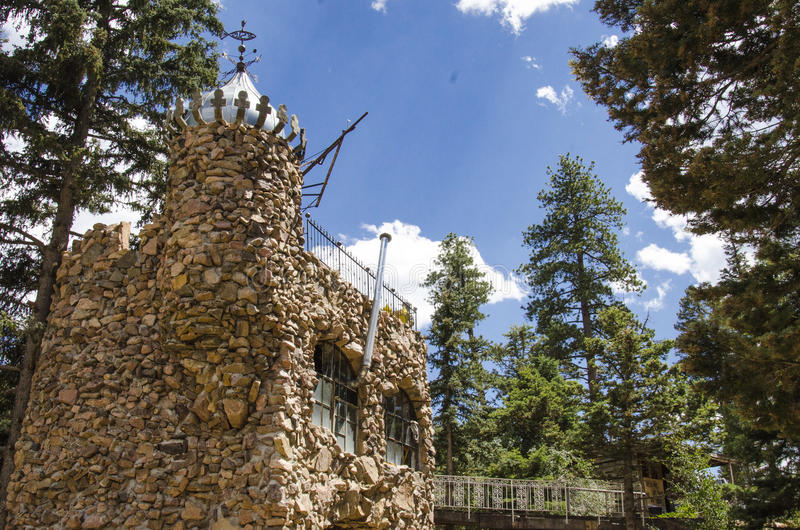 Tourism at Bishops Castle in Colorado. For nearly 60 years, this has been being built. Bishop castle is a monumental statue in stone and iron that cries loud royalty free stock photo