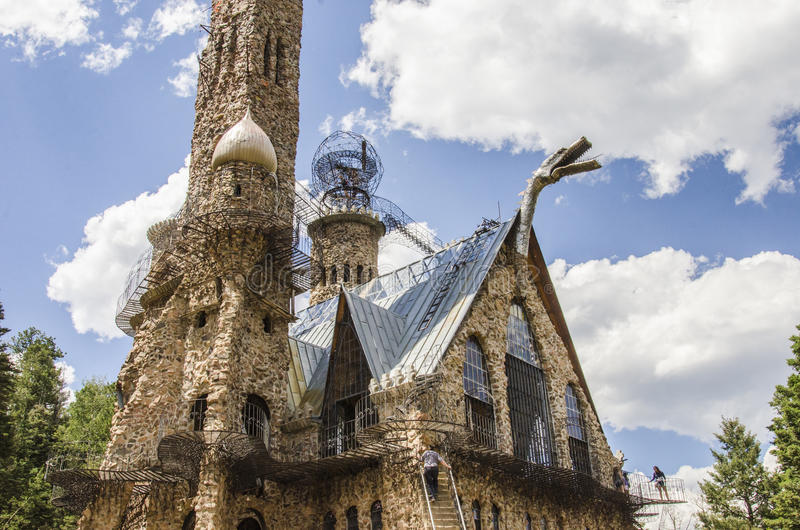 Tourism at Bishops Castle in Colorado. For nearly 60 years, this has been being built. Bishop castle is a monumental statue in stone and iron that cries loud royalty free stock image