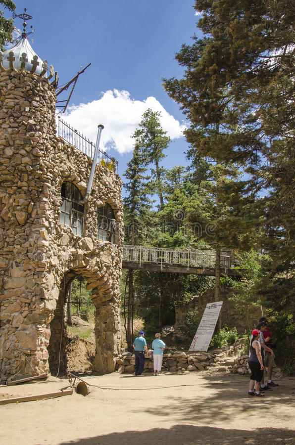Tourism at Bishops Castle in Colorado. For nearly 60 years, The owner Jim Bishop has been constructing one of the most impressive monuments to perseverance in stock images