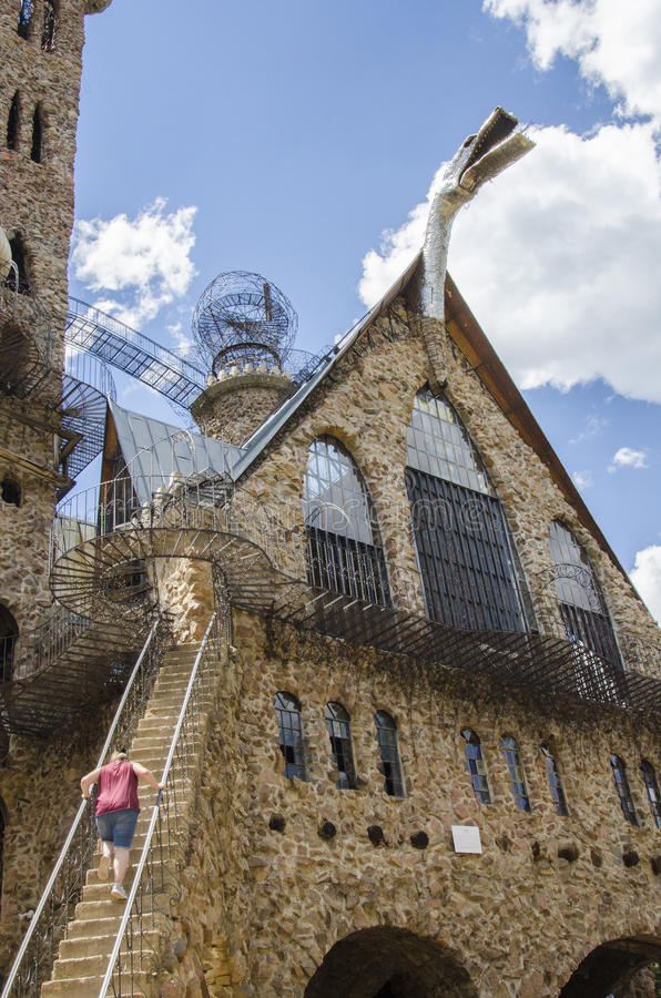 Tourism at Bishops Castle in Colorado. For nearly 60 years, The owner Jim Bishop has been constructing one of the most impressive monuments to perseverance in stock photography