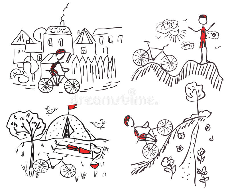 Download Tourism Bycicle Doodle Sketches Stock Vector - Illustration of speed, notebook: 20990654
